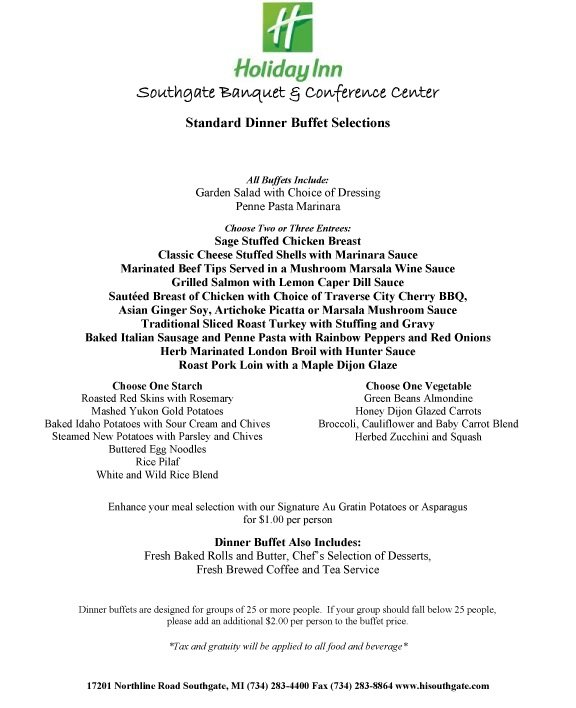 Menus - Holiday Inn Southgate Banquet and Conference Center
