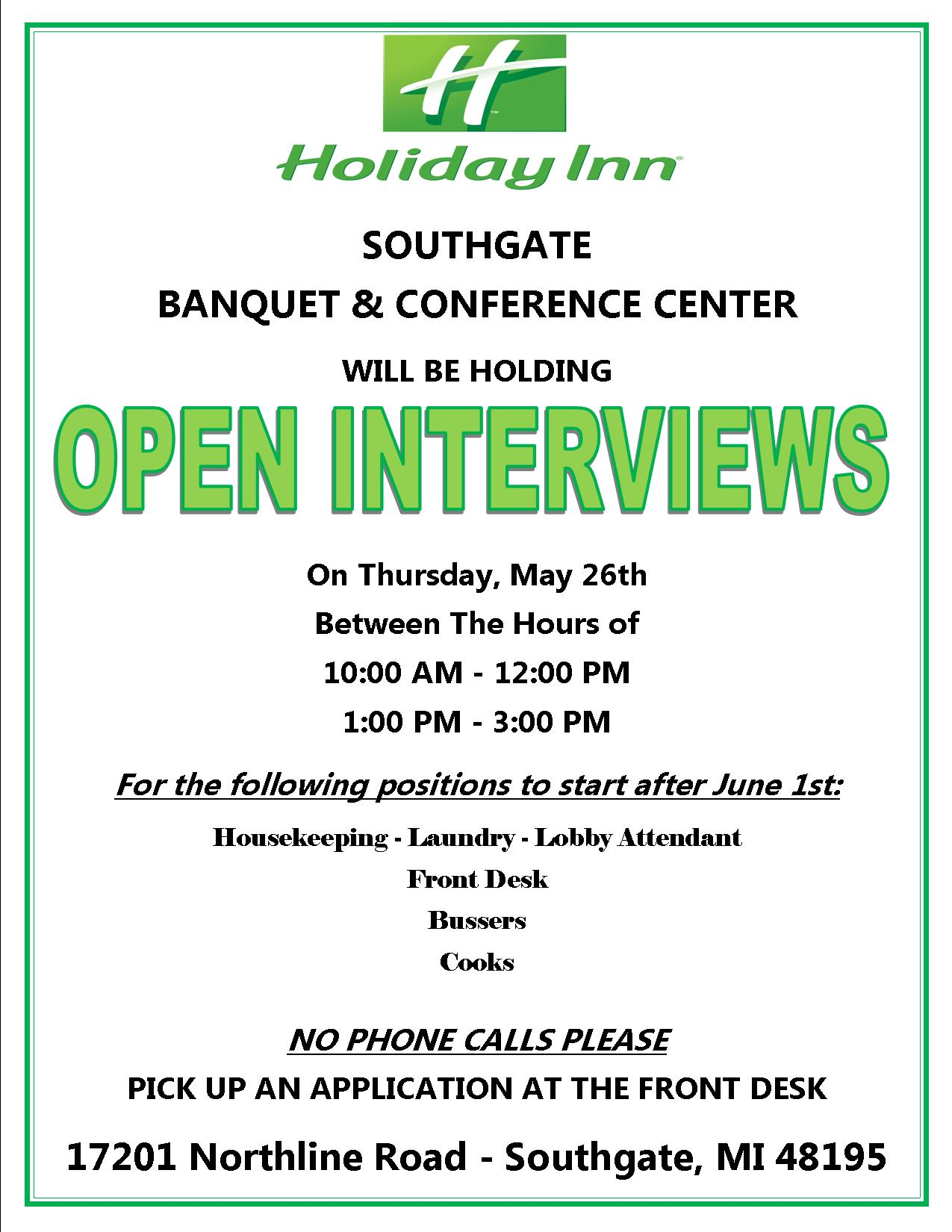 Now Hiring Open Interviews On Thursday, May 26th 2016 - Holiday Inn Southgate Banquet and ...